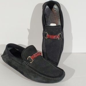 Gucci Black Suede Red Wood Horsebit Loafers - 9.5